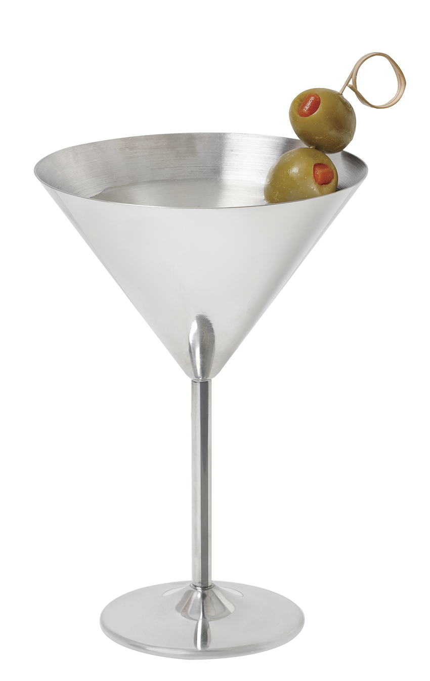 "12 oz. (12.85 oz. rim-full), 4.92"" Stainless Steel Martini, 7.15"" tall - 12 pieces/cs."