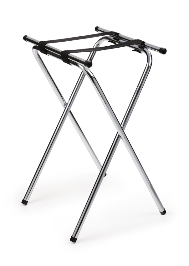 "Deluxe Chrome Tray Stand, 32"" Tall"