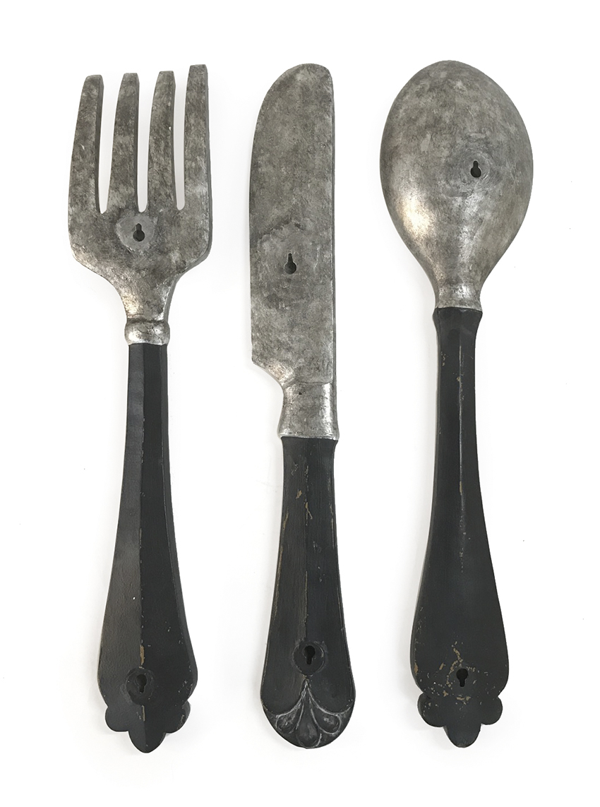 "Set of 3 Poly Resin Utensil Wall D�cor with 2 Holes for Hanging - Spoon, Fork, & Knife, 22"" x 5"", 21.75"" x 4.5"", 22.25"" x 3"""