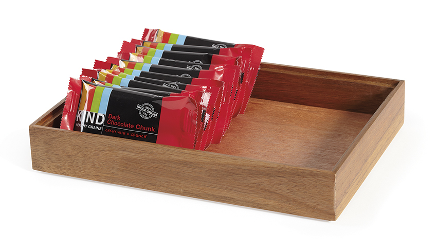 "12"" x 9"" Rectangular Stackable Wood Display Box Condiment Organizer, 2"" tall (fits MTS-20L)"