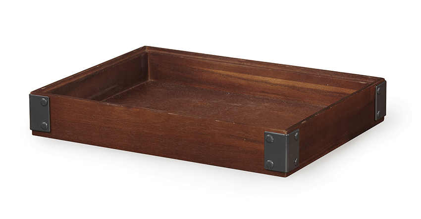 "12"" x 9"" Rectangular Stackable Wood Display Box with Metal Brackets / Condiment Organizer, 2"" tall (fits MTS-20L)"