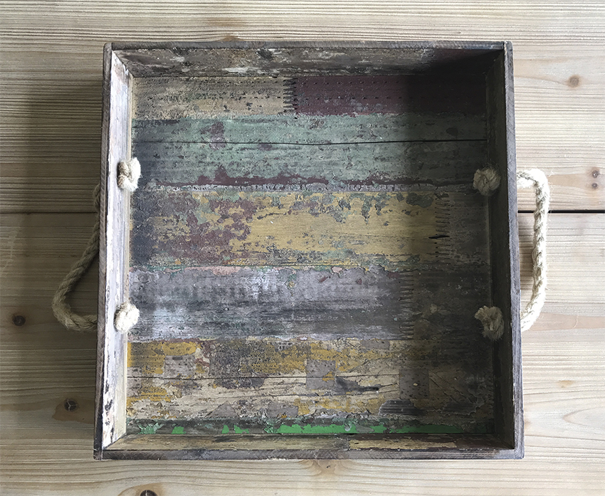 "15.5"" Square Reclaimed Wood Serving Tray with Rope Handles, 3.25"" tall"