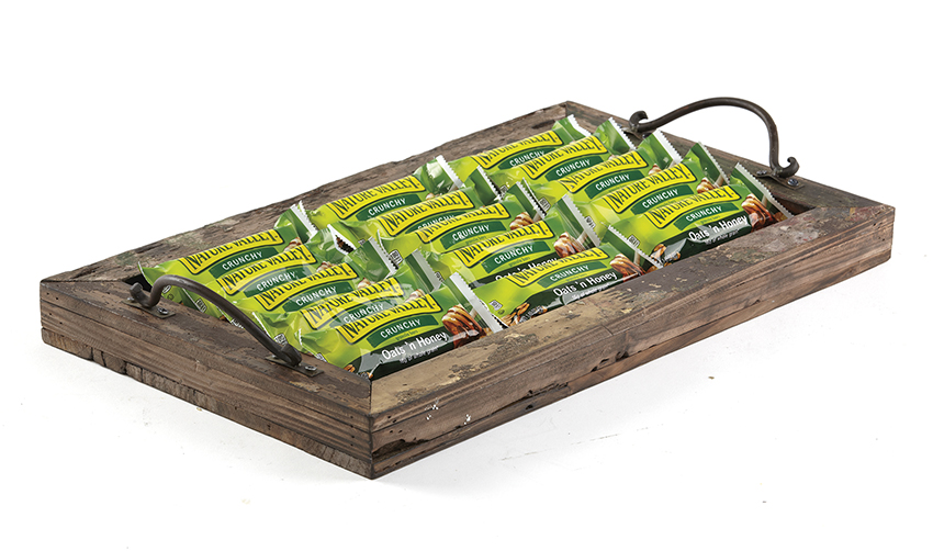 "19"" x 11.5"" Rectangular Reclaimed Wood Serving Tray with Metal Handles (20"" with Handles), 1.5"" tall"