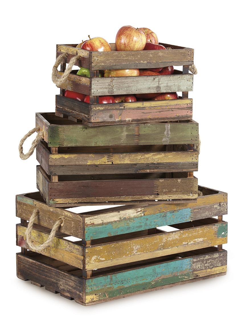 "Set of 3 Rectangular Reclaimed Wood Crates with Rope Handles, 11.75"" x 8.25"", 7.5"" tall, 15.25"" x 10.5"", 8.25"" tall, 15.25"" x 12.75"", 9"" tall"