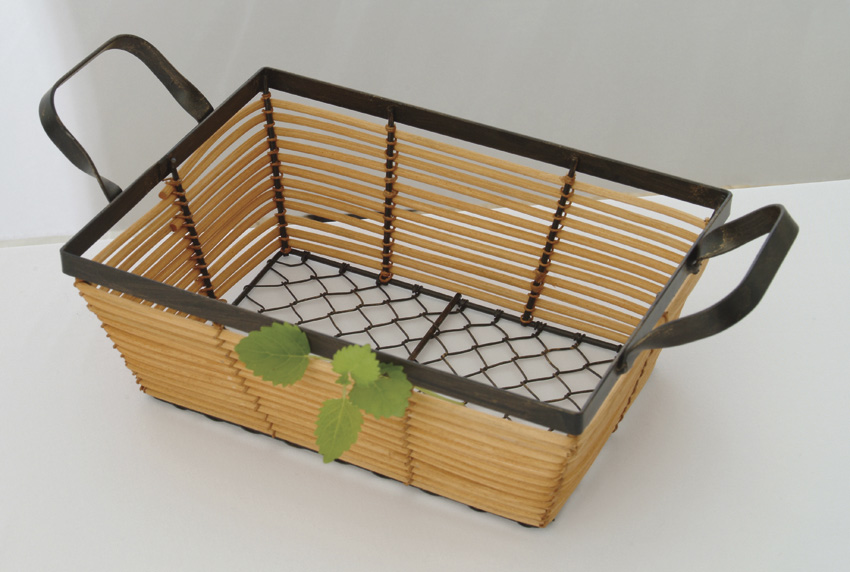 "10""x 7.5"" Rattan and Black Wire Basket, 3.75"" Deep"