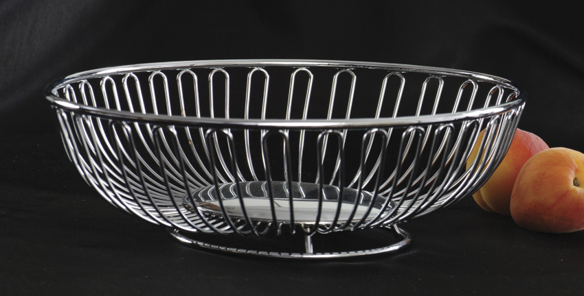 "11"" x 8.75"" Oval Chrome Wire Basket, 3"" Deep"