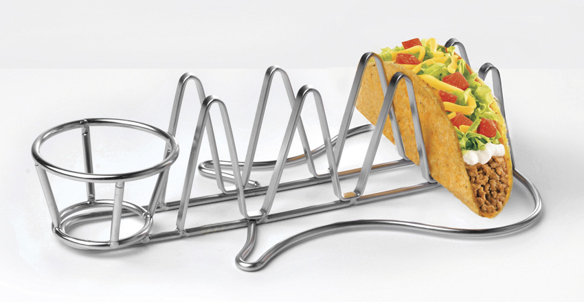 "10.5"" Guitar-Shaped Taco Holder, holds 2.5 oz. Stainless Steel Ramekin"