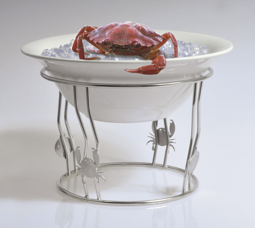 "8.5"" Wire Stand for Bowl Display, Includes Fish and Crab Ornaments, 6"" tall"