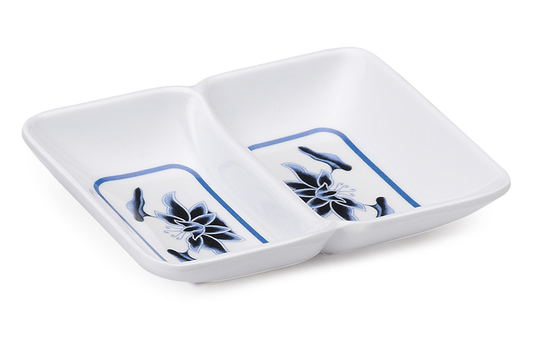 "1 oz., 4"" x 3"" 2-Compartment Sauce Dish"