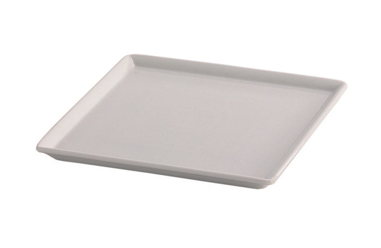 """9"""" x 9"""" White Square China Plate for Cold Food Displays"""