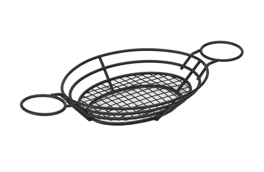 "11"" x 8"" Oval Basket w/ Raised Grid Base and 2 Holders"