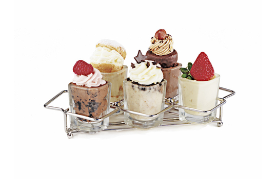 "8"" x 3.5"" 8"" x 3.5"" Dessert Caddy w/ 5 Square Holders"