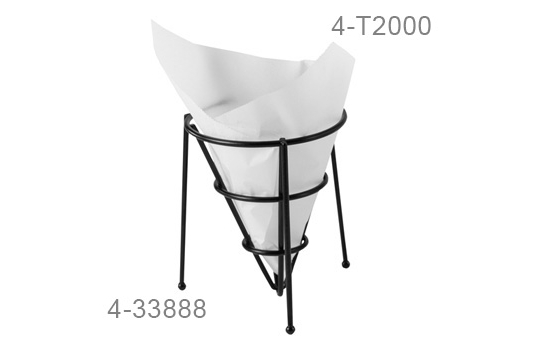 """7"""" x 7"""" Food-Safe Double-Open Bag / Wire Cone Basket Liner / Deli Wrap, White"""