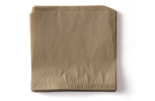 """7"""" x 7"""" Food-Safe Double-Open Bag / Wire Cone Basket Liner / Deli Wrap, Brown"""