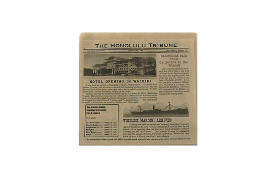 "7"" x 7"" Food-Safe Double-Open Bag / Wire Cone Basket Liner / Deli Wrap, Honolulu Newsprint Brown"