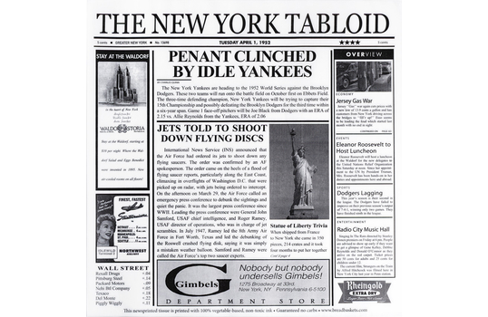 "12"" x 12"" Food-Safe New York Newsprint Liner, White"