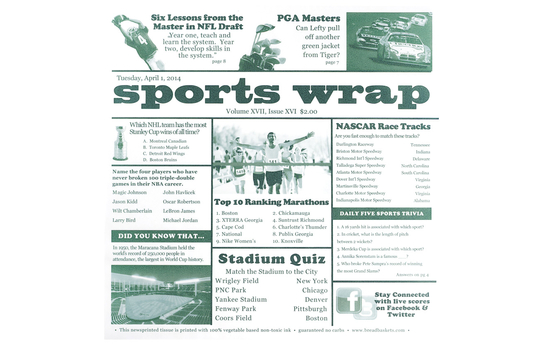 "12"" x 12"" Food-Safe Sports Newsprint Liner, White"