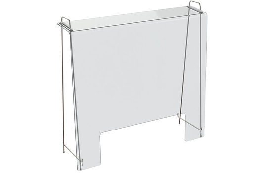 Portable clear acrylic sanitary sneeze guard/shield barrier on metal stand with window