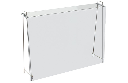 Portable clear acrylic sanitary sneeze guard/shield barrier on metal stand without window