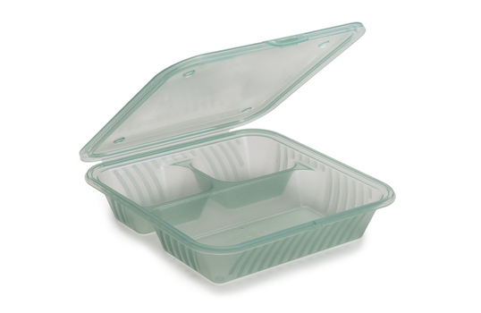 "9"" x 9"" Flat Top 3-Compartment Food Container"