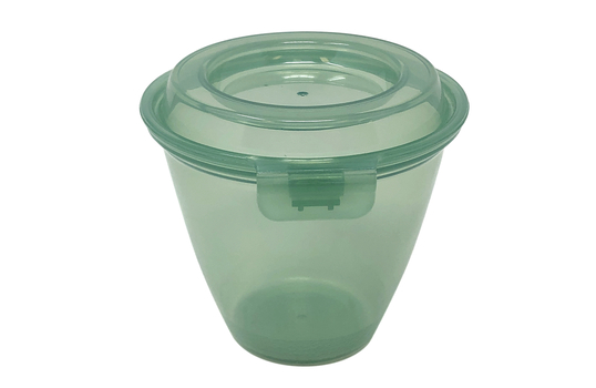 6 oz. Reusable Jade Plastic Side-dish/Large Sauce Cup with Hinged Lid