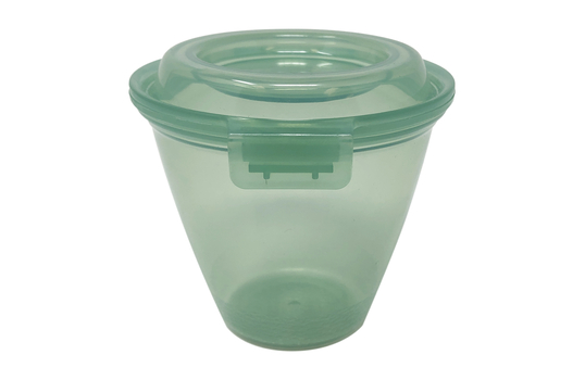 12 oz. Reusable Jade Plastic Large Side-dish with Hinged Lid