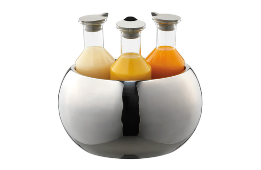 3-Carafe Polished Stainless Steel Beverage Tub Set