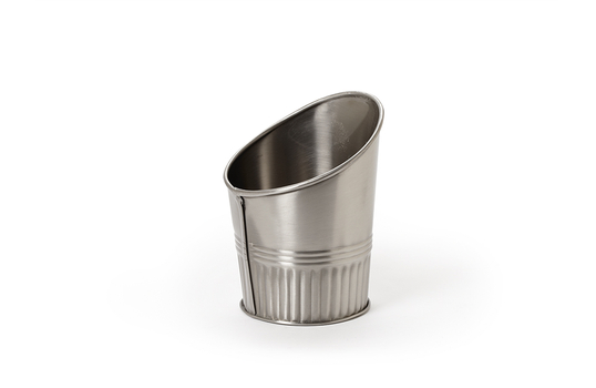 """3.5"""" Dia. Angled Stainless Steel French Fry Cup"""