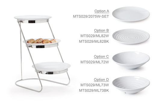 """3-Tier Cascading Stand with Six 10.5"""" White Plates"""