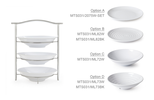 """3-Tier Stand with Six 10"""" White Plates"""