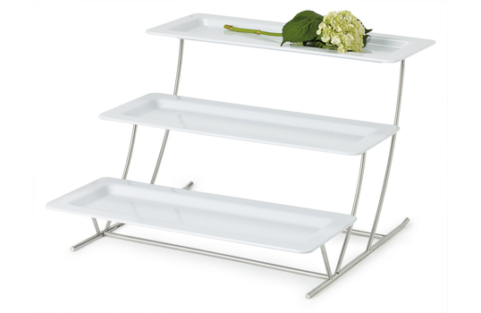 "3-Tier Cascading Stand with Six 21.5"" x 8.25"" White Trays"