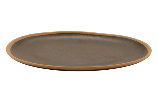 """11.75"""" x 9.25"""" Brown with Clay Trim  Melamine Oval Dinner Platter"""