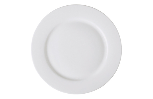 """10"""" Bright White Porcelain Rolled Edge Plate"""