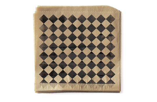 """7"""" x 7"""" Food-Safe Double-Open Bag / Wire Cone Basket Liner / Rustic Black Checker on Brown Paper"""
