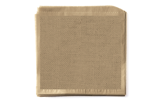 "7"" x 7"" Food-Safe Double-Open Bag / Wire Cone Basket Liner / Burlap on Brown Paper"