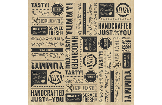 """12"""" x 12"""" Grease-Resistant Food-Safe Sandwich Wrap Paper / Deli Wrap Paper / Generic Typography Theme on Brown Paper with Black Ink"""