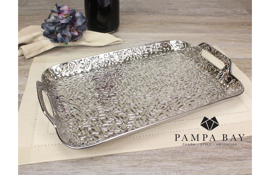 """16.75"""" x 10.25"""" Rectangular Porcelain Tray with Handles"""