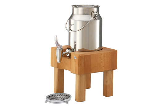 3.2 qt. Stainless Steel Milk Dispenser Set with Beech Wood Stand