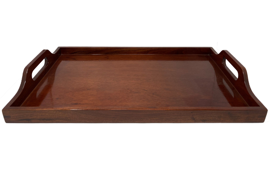 "***DISCONTINUED*** 25"" X 15.75"" Hardwood, Mahogany, Room Service Tray with Handles"