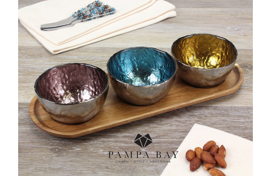 Set of 3 Two-Tone Colored Glass Bowls & Wood Tray