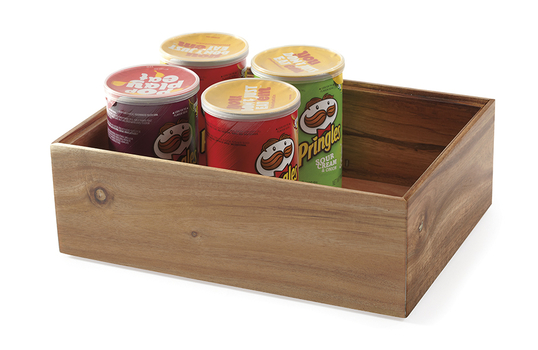 """6"""" Square Wood Stackable Display Box / Condiment Organizer, 4"""" tall"""