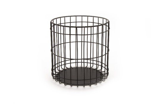 "Round Basket 6.5"" x 6.37"" H, Gun Metal Grey"
