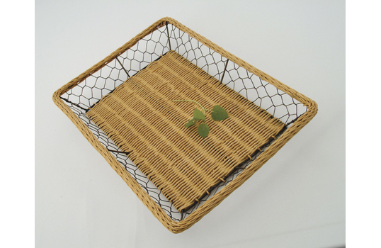 """16.5"""" x 11.75"""" Rattan and Wire Basket"""