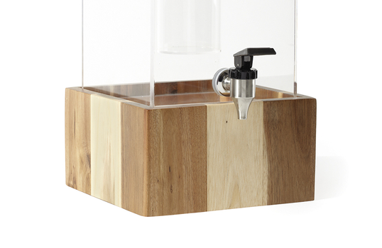 """9.5"""" Square Wood Riser for Acrylic Juice / Beverage Dispenser, 5"""" tall"""