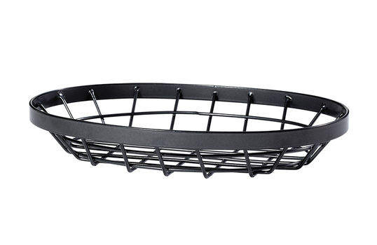 """9"""" x 6"""" Oval Metal Gray Wire Food Serving Basket"""