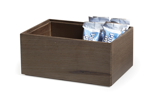 "9"" x 6"" Rectangular Stackable Wood Display Box / Condiment Organizer, 4"" tall"