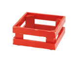 "9"" x 9"", 4.1"" tall, Vintage Red Wooden Base Frame / Riser for Cold Food Displays"