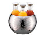 3-Carafe Hammered Stainless Steel Beverage Tub Set