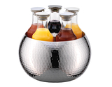 5-Carafe Hammered Stainless Steel Beverage Tub Set