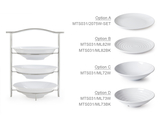 "3-Tier Stand with Six 10.5"" White Plates"